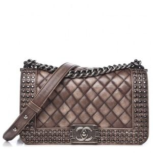 Chanel Handbag Boy Faded Quilted Medium Studded